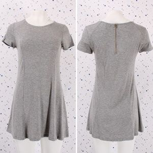 Short Sleeve Zipper Back T-shirt Dress Hgrey